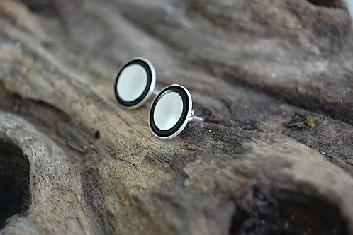 Cascading disks with resin trim earrings - Sterling silver