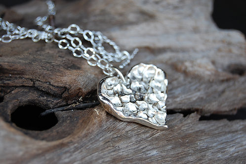 Faceted Heart Sterling Silver Necklace