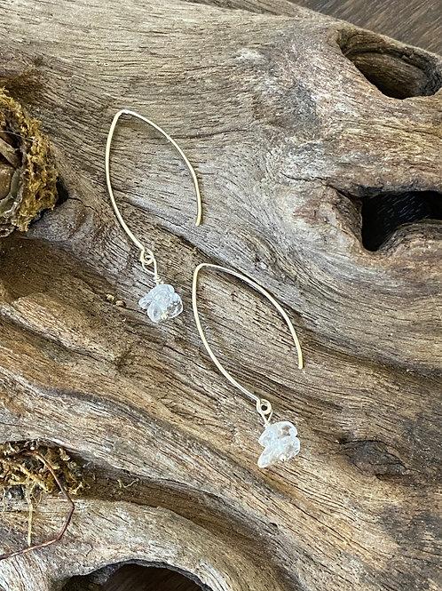 April Crystal Gemstone & Sterling Silver Long Birthstone Earrings