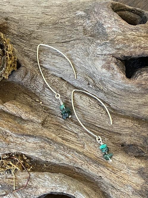 May Emerald Gemstone & Sterling Silver Long Birthstone Earrings