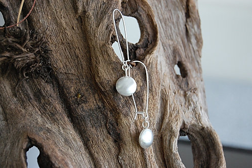 Convex disk earrings - Sterling silver