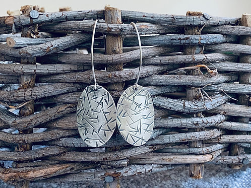 Reticulated Oval Sterling Silver Earrings With Long French Wires