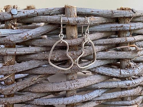 Dangling Heart Sterling Silver Earrings