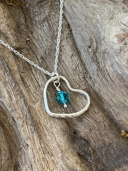 December Zircon Swarovski Crystal & 925 SS Textured Heart Birthstone Necklace