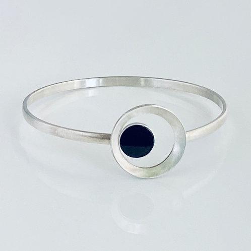 Encircled Black Onyx & Sterling Silver Bracelet