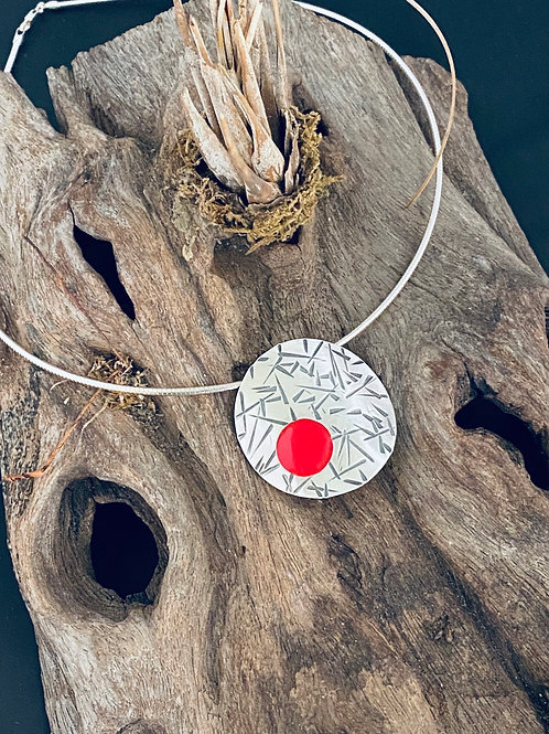 Reticulated Resin & Sterling Silver Necklace