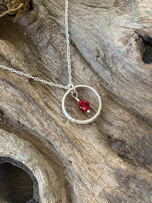 January Garnet Swarovski Crystal & 925 SS Textured Circle Birthstone Necklace