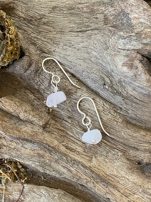 Birthstone earrings October - Sterling silver, Rose Quartz Gemstone