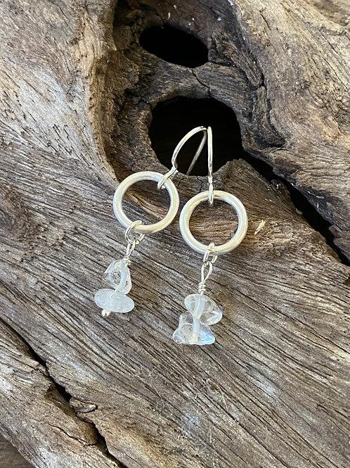 April Crystal Gemstone & Sterling Silver Circle Birthstone Earrings