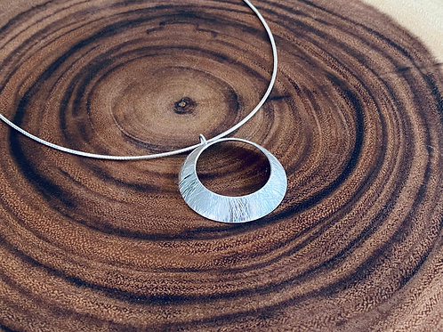 Hammered Large Sterling Silver Open Circle Disk Necklace