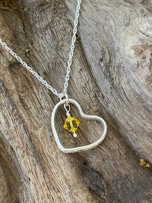November Citrine Swarovski Crystal & 925 SS Textured Heart Birthstone Necklace