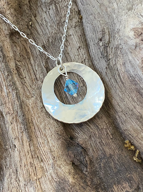 Birthstone disc necklace March - Sterling silver, Aquamarine Swarovski Crystal