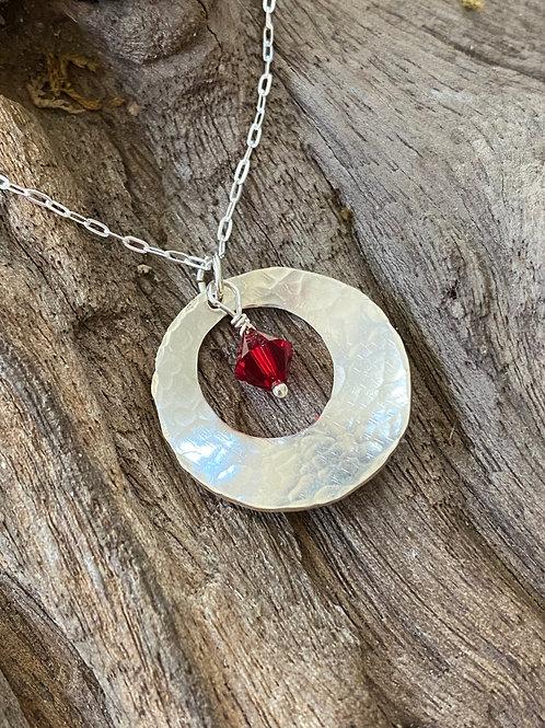 January Garnet Gemstone & Sterling Silver Disk Birthstone Necklace