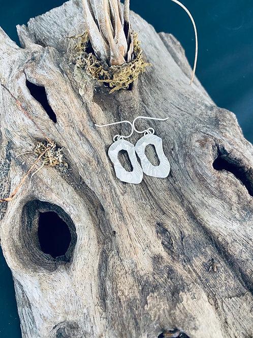 Chiseled Disk Sterling Silver Earrings