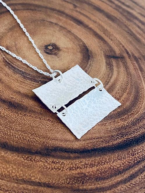 Hammered Large Linked Rectangle Bars Sterling Silver Necklace