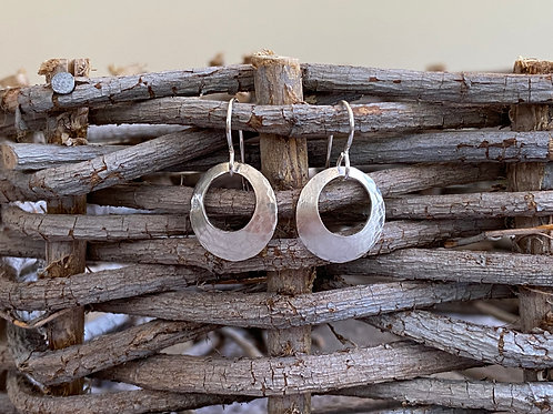 Lightly Hammered Sterling Silver Convex Disk Earrings