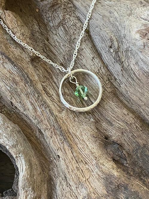 Birthstone pattern circle necklace August - Sterling silver, Peridot Swarovski