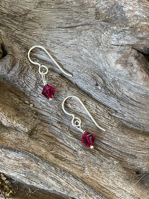 July Ruby Swarovski Crystal & Sterling Silver Dangle Birthstone Earrings
