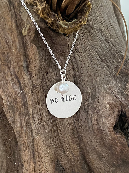 """Sterling Silver & Freshwater Pearl """"Be Nice"""" Disk Necklace"""