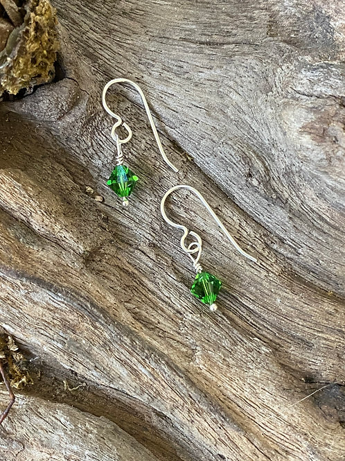 Birthstone earrings May - Sterling silver, Emerald Swarovski Crystal