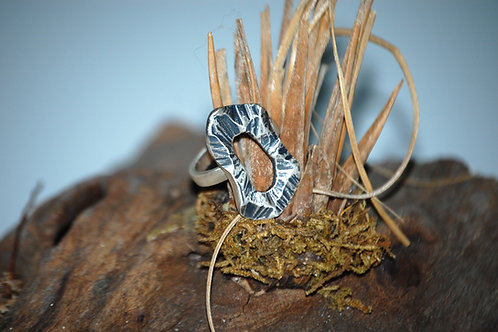 Oxidized Disk Sterling Silver Ring