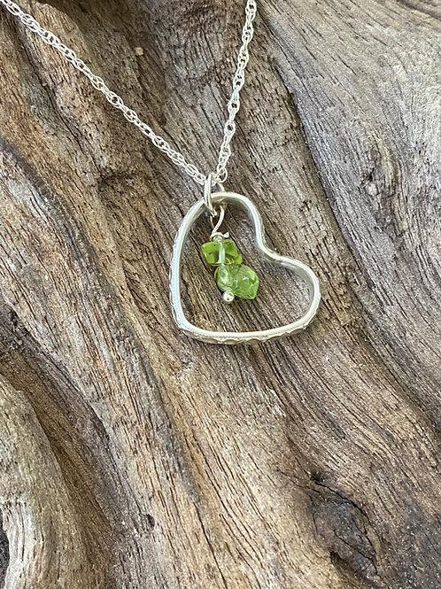 Birthstone pattern heart necklace August - Sterling silver, Peridot Gemstone
