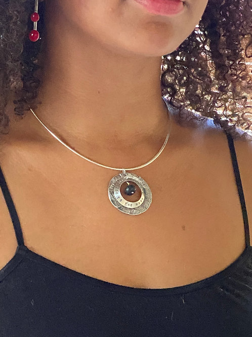 Personalized lava rock necklace - Sterling silver