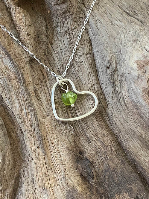August Peridot Gemstone & Sterling Silver Smooth Heart Birthstone Necklace