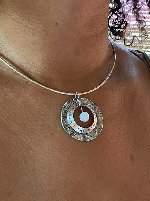 Personalized Moonstone & Sterling Silver Disk Necklace