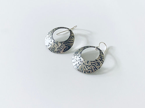 Hammered Oxidized Sterling Silver Disk Earrings