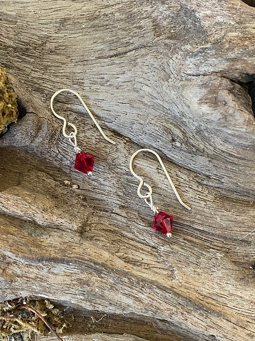 January Garnet Swarovski Crystal & Sterling Silver Dangle Birthstone Earrings