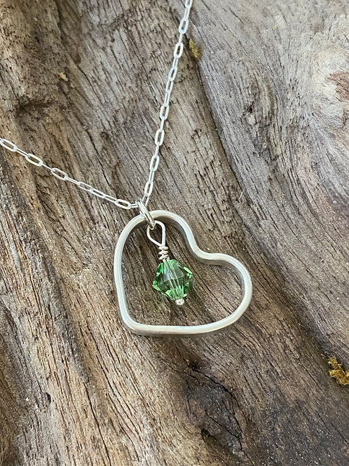 Birthstone heart necklace August - Sterling silver, Peridot Swarovski Crystal