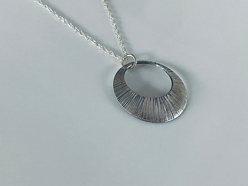 Hammered & Oxidized Sterling Silver Convex Disk Necklace