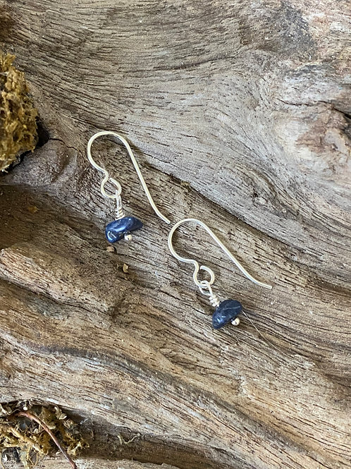 September Sapphire Gemstone & Sterling Silver Dangle Birthstone Earrings