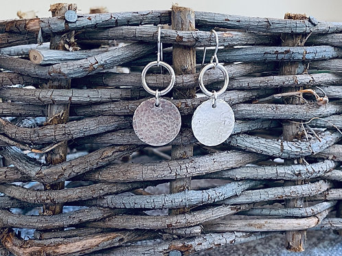 Dangling Circle & Hammered Disk Sterling Silver Earrings