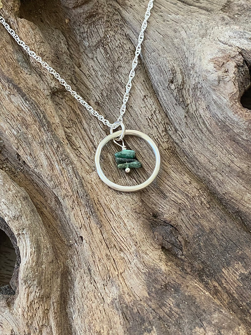 May Emerald Gemstone & Sterling Silver Smooth Circle Birthstone Necklace