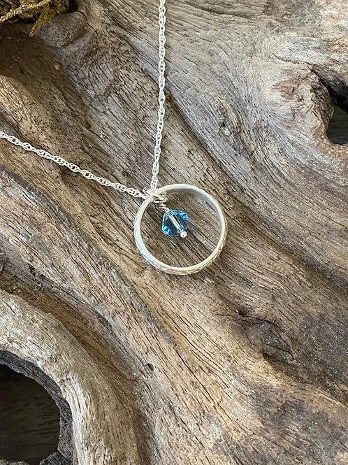 March Aquamarine Swarovski Crystal & 925 SS Textured Circle Birthstone Necklace