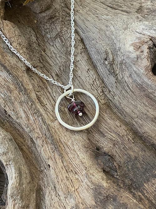 January Garnet Gemstone & Sterling Silver Smooth Circle Birthstone Necklace