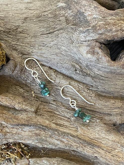 Birthstone earrings May - Sterling silver, Emerald Gemstone