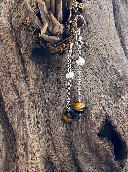 Floating Bead Tiger Eye & Sterling Silver Long Chain Earrings