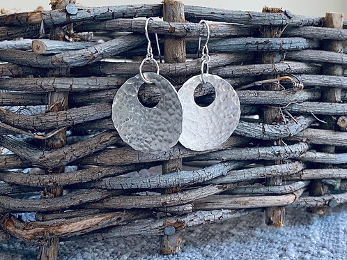 Hammered Large Sphere Sterling Silver Earrings
