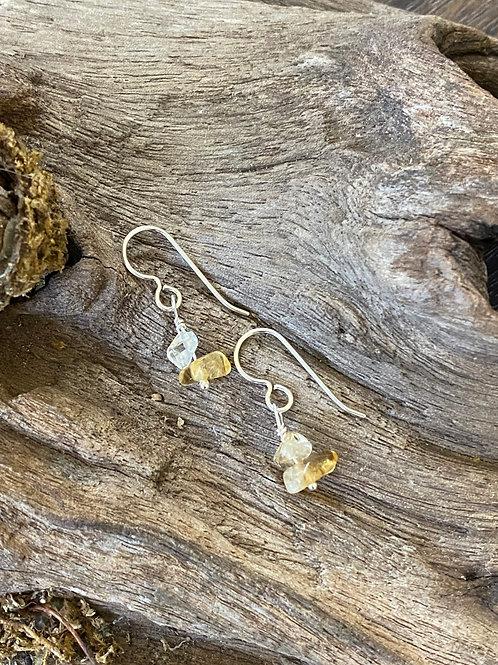 November Citrine Gemstone & Sterling Silver Dangle Birthstone Earrings
