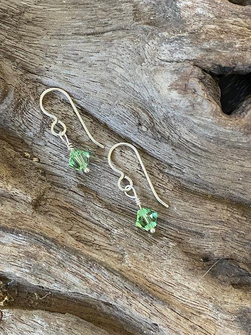 August Peridot Swarovski Crystal & Sterling Silver Dangle Birthstone Earrings