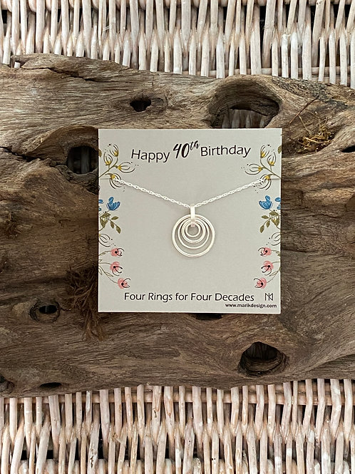 40th Birthday Gifts for Women - Sterling Silver Milestone Necklace