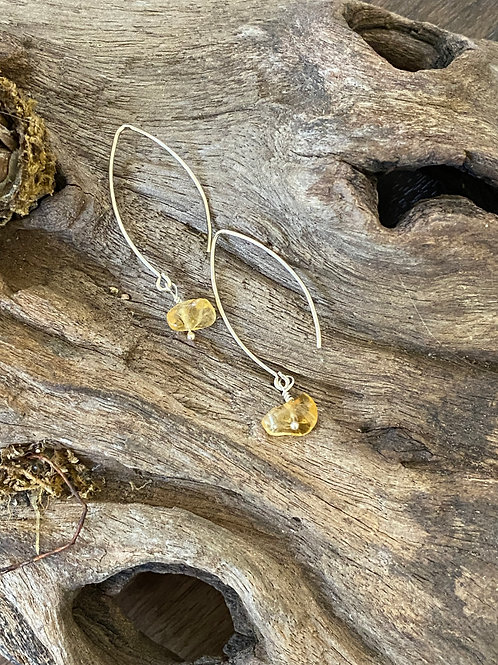 Birthstone long earrings November - Sterling silver, Citrine Gemstone