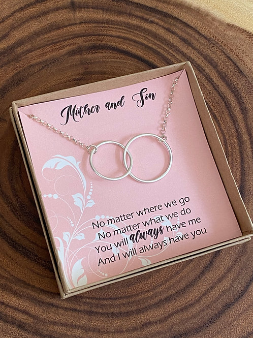 Mother & Son Linked Circles Sterling Silver Duet Necklace