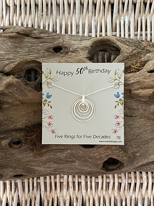 50th Birthday Gifts for Women - Sterling Silver Milestone Necklace