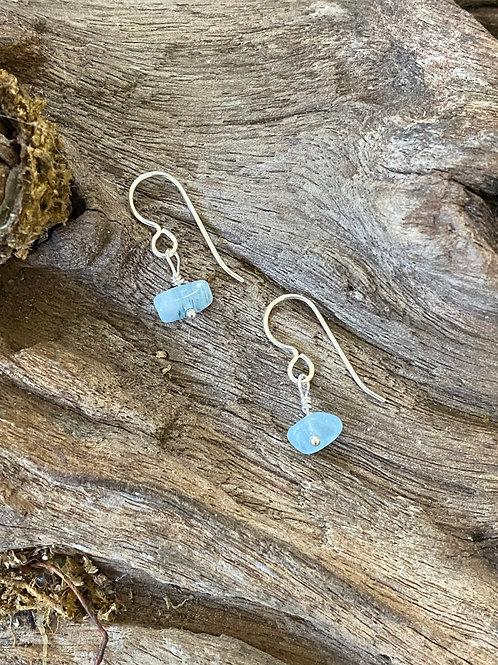 March Aquamarine Gemstone & Sterling Silver Dangle Birthstone Earrings