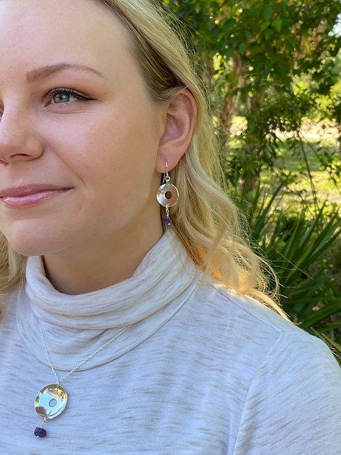 Concave Disk Amethyst & Sterling Silver Earrings