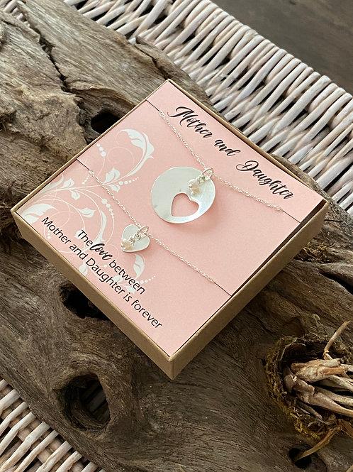 Mother & Daughter Love Polished Sterling Silver Necklace Set